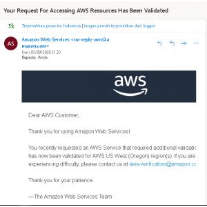 Gambar Akun AWS Amazon Free Tier 1 Tahun