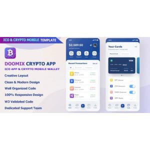 Gambar Doomix - ICO App & Crypto Wallet Mobile Template