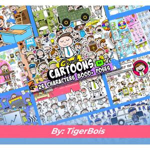 Gambar Karakter kartun Vectors Bundle 8.000+ Pack