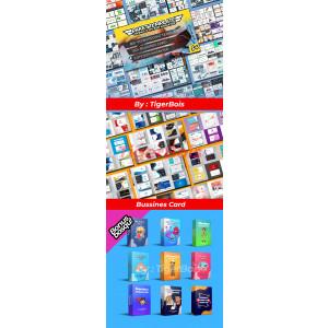 Gambar Paket MANTAP 3in1 : 80+Premium PowerPoint Template, 100+Bussines card BONUS 9Stiker karakter